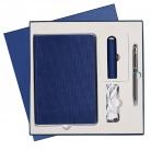 Подарочный набор Portobello/Rain синий-4 (Ежедневник недат А5, Ручка, Power Bank)