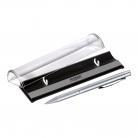 Шариковая ручка Scotland, серебряная, в упаковке с логотипом