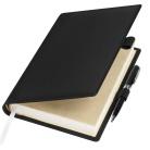 Ежедневник-портфолио Clip, черный, обложка soft touch, недатированный кремовый блок, подарочная коробка, в комплекте ручка Tesoro