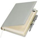 Ежедневник-портфолио Clip, серый, обложка soft touch, недатированный кремовый блок, подарочная коробка, в комплекте ручка Tesoro